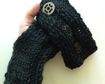 Black knitted steampunk fingerless gloves - hand knit with gold accents *Free Shipping*