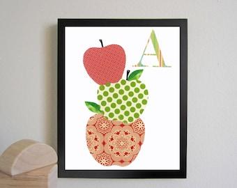INSTANT DOWNLOAD Digital print, printable art Nursery Art Alphabet Art Wall letter A is for apples, Children nursery Decor Wall print