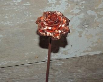Handmade Copper Rose, Metal Art, Metal Rose
