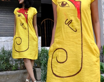 linen tunic dress with side pockets/linen casual summer dress/made to order linen tunic