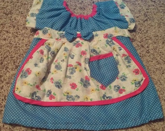 Blue White Polka Dot Floral Short Sleeve Summer Dress Size 3-6 Months