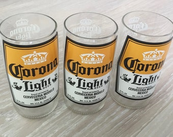 3 Corona drinking glasses, Upcycled Corona bottle, Corona Cups, beer lover glasses, beer glasses, drinkware, water glasses, drinking glasses