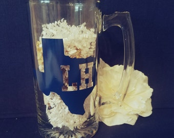Monogrammed State Beer Mug // Personalized Beer Mug // Monogrammed State Decal // State Pride Beer Glass // Custom Beer Glass // Fathers Day