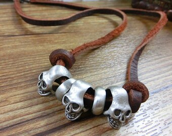 Genuine Leather Skull Pendant