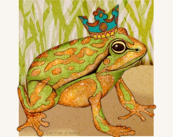 Card - Green and Golden Bell Frog - 14cm x 14cm - blank