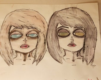 Watercolor and Ink Drawing
