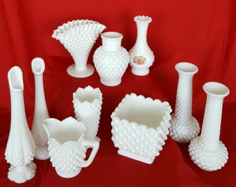 VINTAGE HOBNAIL MILKGLASS - Set of 10 pieces