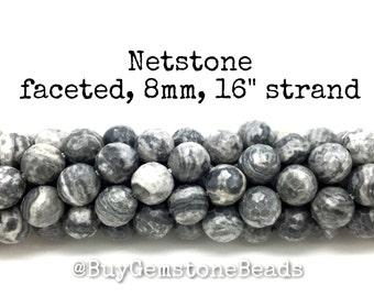 "8mm Netstone faceted beads, 16"" strand. wholesale gemstone beads #R8F-006"
