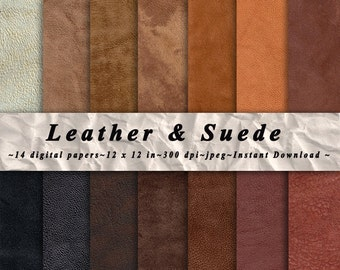 "Leather Suede Fabric Digital Paper Pack of 14, 300 dpi, 12""x12"" Instant Download Natural leather texture Paper Scrapbooking, Invites, Cards"