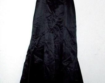 Strapless Black Satin Embroidered Full Length Gown