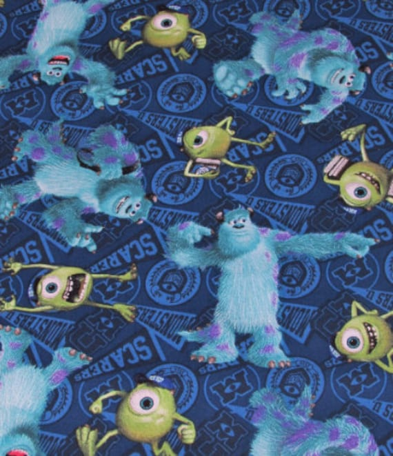 Disney monsters inc mike and sully toss fabric by springs for Baby monster fabric