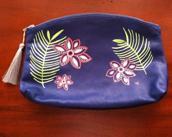 Leather, Hand Painted Blue Clutch Purse