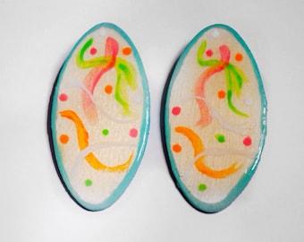 Hand Painted Wood Earrings, Handmade Earrings.