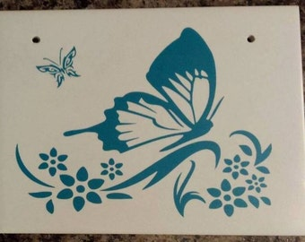 Vinyl on ceramic tile decorative butterfly
