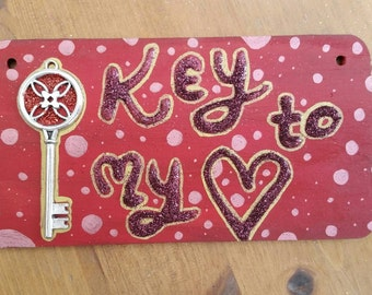 Key to my heart hanging sign