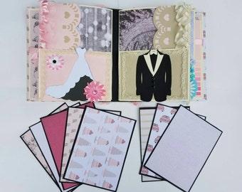Wedding album, premade scrapbook, wedding mini album, shabby chic wedding, shabby chic wedding album, premade mini album, photo keepsake