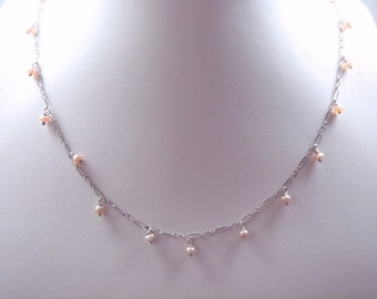 Sterling Silver Dainty Light Pink Pearl Necklace RN6