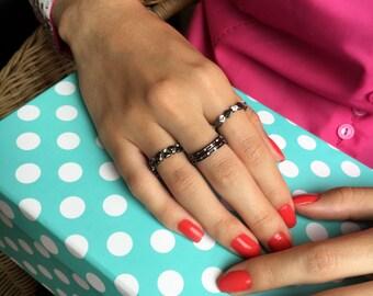 Black Rings, Dots, Stackable, Boho Rings