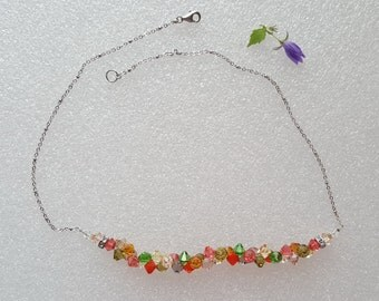 Handmade necklace with swarovski elements and silver