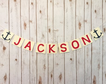 Nautical personalized name Banner // nautical baby shower // nautical sign // nautical name banner // anchor banner // baby shower banner //