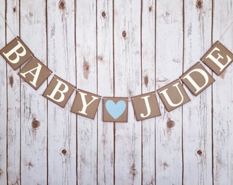 Baby shower banner, baby shower sign, baby name banner, baby name, custom name banner, baby shower decorations,baby shower banner