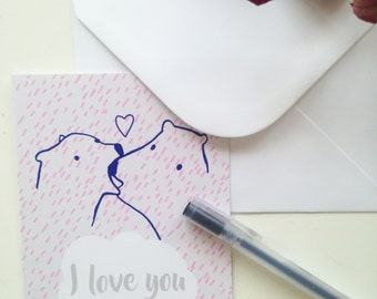 Greeting card I love bear blue and pink
