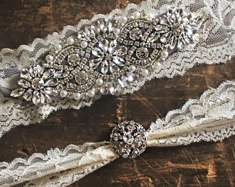 Ivory Wedding Garter Set NO SLIP grip vintage rhinestones