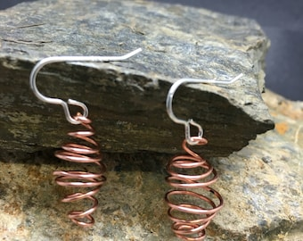 Copper and sterling silver spiral earrings