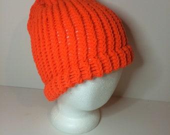 Orange Crochet Winter Hat