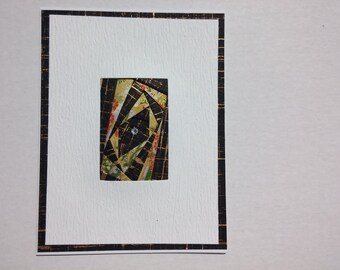 Elegant greeting card rectangle black/gold with green/ gold origami paper