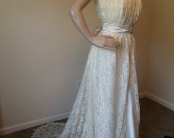 Vintage over lace Ivory wedding gown.