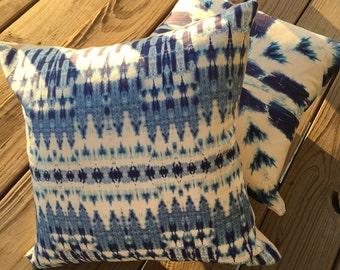 "Zigzag Blues Shibori Pillow -18""/Shibori Pillow/Indigo Blues Pillow/Decorative Pillow/ Linen Housewares/ Accent Pillow"