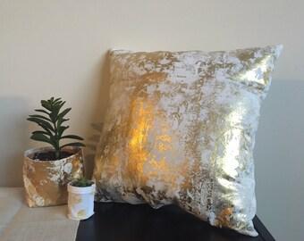 """Gold Foil Pillow -18""""/Decorative Pillow/ Linen Housewares/ Accent Pillow/ Gifts/ Seasonal Pillow"""