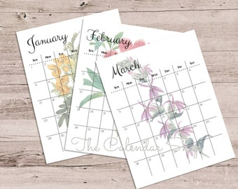 2017 Printable Calendar, Yearly Calendar, Schedule, Planner, Botanical Floral Design
