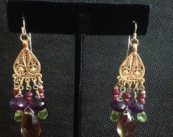 Bali Style Amathis, Peridot  and Lemon Quartz Gemstone Chandelier Earrings