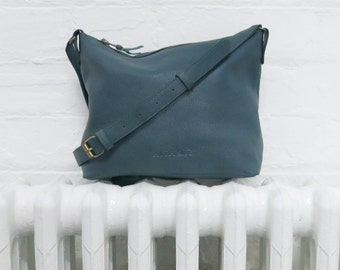 ATILO Leather Shoulder Bag in Teal, Taupe Grey or Black