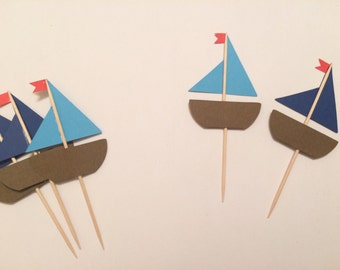 Set of 12 Sail Boat Cupcake Toppers
