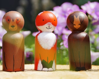 Forest Animal Peg Doll Set