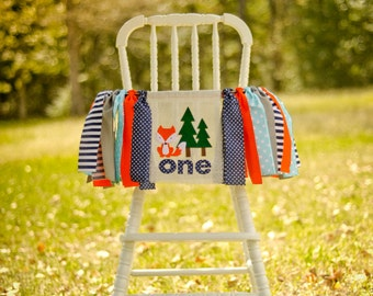 FOX woodland teal/orange/brown/navy orange birthday high chair banner/fabric garland/woodland theme/smash cake decoration/first birthday