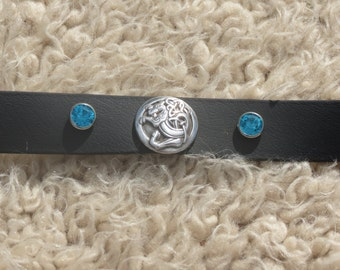 Handmade biothane dog collar with celtic lion center and sky blue rhinestone and silver rivet accents.  14-15 inches