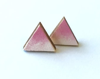 Ombre Triangle Hand Painted Wood Earrings