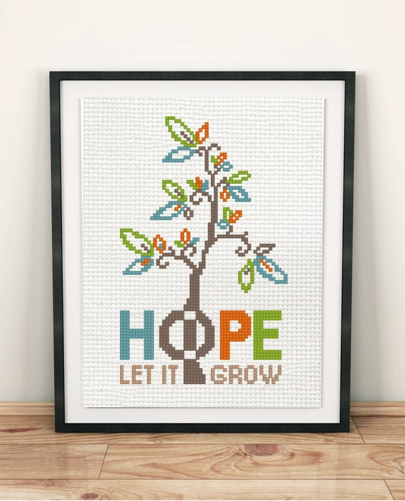 Hope cross stitch tree pattern beginner chart