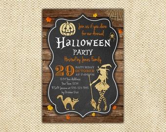 Halloween invitation. Halloween party invitations. Witch halloween invites. Costume party invitations. Printable halloween invitations.