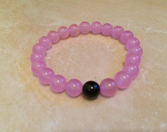 Black Onyx and Pink Jade Bracelet