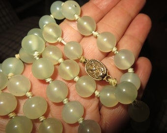 "Antique pale green translucent CELADON JADE necklace hand knotted 26"" length - Original antique filigree clasp"