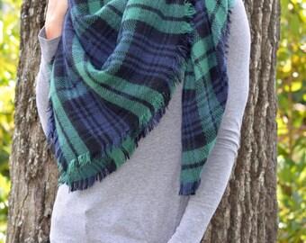 Popular Navy & Green Plaid Blanket Scarf