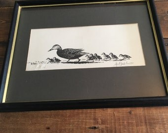 """Framed, Signed And Numbered Print of """"First Walk - Mallards"""" by Les C. Kouba"""