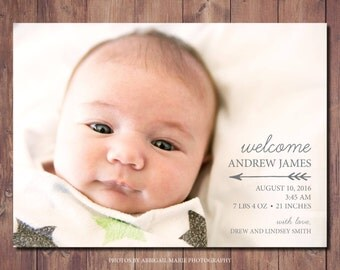 New Baby Announcement Card, Printable Birth Announcement Card, Printable Newborn Announcement, Photo Credit: AMP