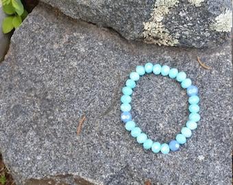 Blue and purple beaded bracelet