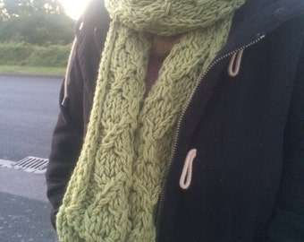 Meadow Green Cabled Panel Scarf
